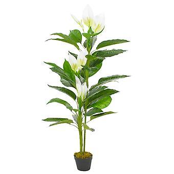 vidaXL Artificial Flamingo Flower Anthurium with Pot White 155 cm