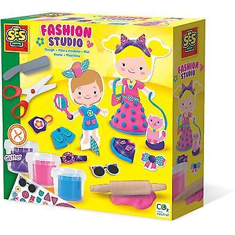 SES CREATIVE Childrens Modelling Dough Fashion Studio Set - 3 Potten Meisje (00437)