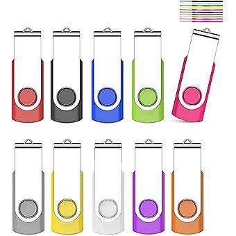 FengChun USB Stick 8GB 10 Stck Speichersticks USB Sticks 360 Drehun Memory Stick, High Speed USB