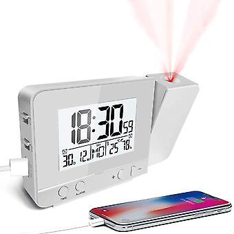 FengChun Projektionswecker, Wecker Reisewecker mit Projektion USB-Anschluss Innentemperatur und