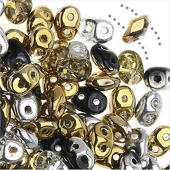 SuperDuo 2 trous perles de verre tchèques, mélange argent et or, 2x5mm, tube 24g