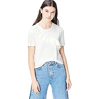 Amazon brand - find. Women's Short Choker T-Shirt, White, 40, Label: XS