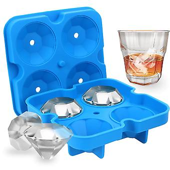 1PC 3D Silicone Ice Maker, used to make 4-cell ice molds for rock sugar cake pudding molds(Blue)