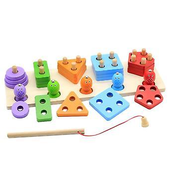 Houten vorm sorteerer stacker kleur sorteren stapelen en sorteren speelgoed vissen spel| Visspeelgoed