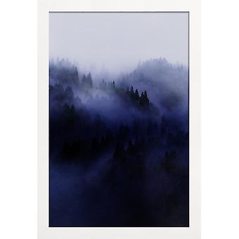 JUNIQE Print - Bluescape 3 - Skogsaffisch i Blått & Svart