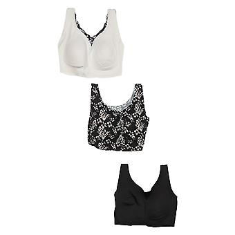 Rhonda Shear SzXL DD3-pack Body Bra Black Bra Set 715478