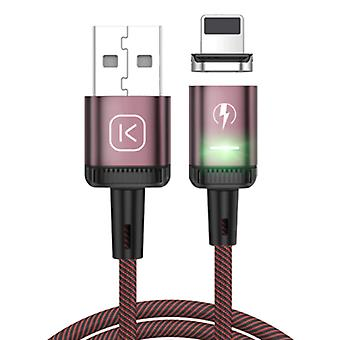 Kuulaa iPhone Lightning Magnetic Charging Cable 2 Meter with LED Light - 3A Fast Charging Braided Nylon Charger Data Cable Android Red
