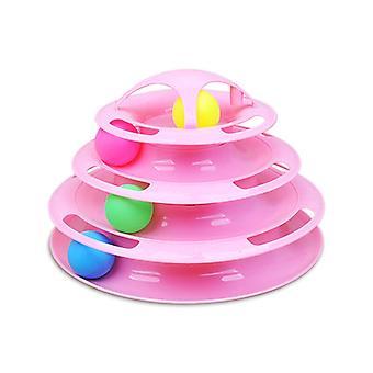 Engraçado Brinquedos de Gato Interativo 4 camadas Totable Totable Cat Catch Ball Game Brinquedos 4-Level Tower Tracks Ball Cat Toy