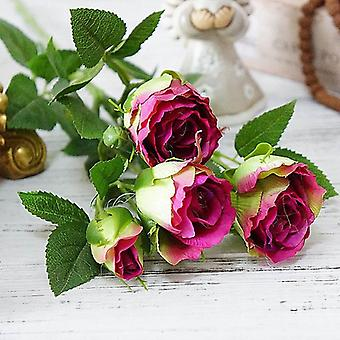 4 Köpfe künstliche Blumen langen Stiel Hochzeit Dekoration Seide Rose gefälschte Blumen