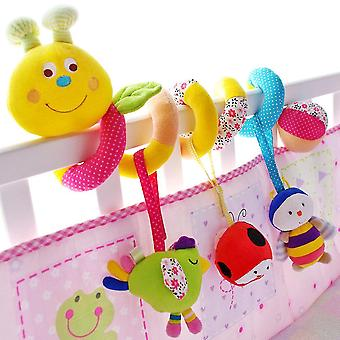 Cartoon Insect Baby Spiral Toy Cute Stroller Hanging Toy With Sound Paper Bb Device Bell Plush Activity Sipral