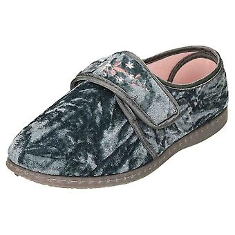 JWF Slippers Touch Fastening Crushed Velour Grey