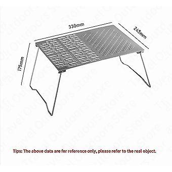 Ultralight Portable Titanium Baking Plate Picnic Folding BBQ Rack Outdoor Travel Table(Silver)
