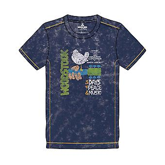Woodstock T Shirt Poster new Official Mens Navy Blue Snow Wash