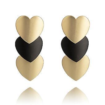 Boucles d'oreilles Geometric Love Heart Plaqué Or Noir Eardrops Pour cérémonie
