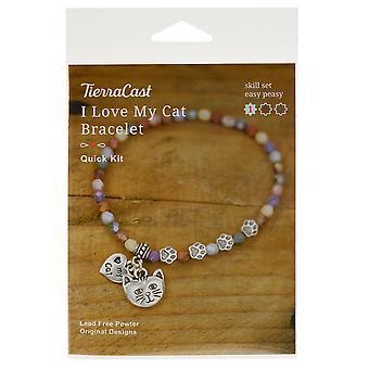 Bracelet Jewelry Kit, I Love My Cat, Makes 1 Stetch Bracelet, Antiqued Silver, By TierraCast