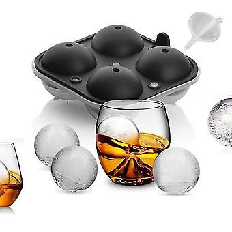 4 furos Fabricante de bola de gelo grande esfera molde de silicone bandejas de gelo esfera de molde de bola de gelo