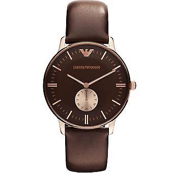 Emporio Armani AR0383 Gianni Brown Leather Strap Gold Bezel Watch