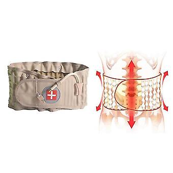 Åndbar lændehvirvelsøjle oppustelige trækkraft bælte lændestøtte luft talje støtte skinne bælte (Khaki Størrelse M)
