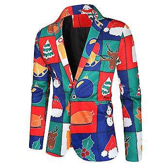 Mile Mens Funny Novelty Xmas Jacket Costume, Ugly Christmas Suit Red