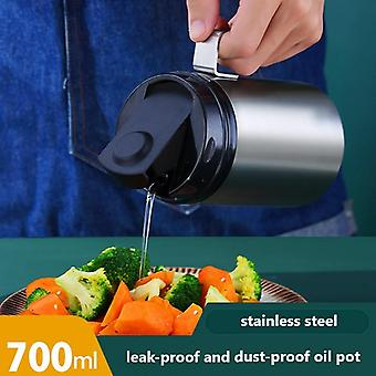 700ml 304 Stainless Steel Oil Can Automatic Opening Seasoning Bottle Oil Can Kitchen Gravy Boats