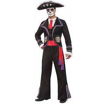 मृत मारियाची खोपड़ी कंकाल मेक्सिको स्पेनिश टक्सीडो पुरुषों पोशाक के दिन