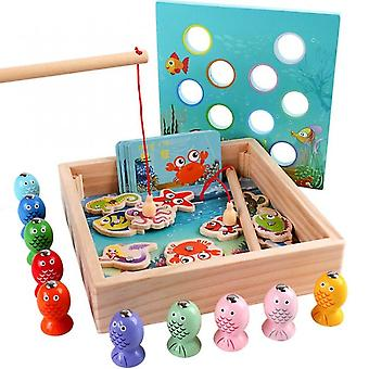 Baby Wooden Digit Magnetic Fishing Toys Game Catch Worm Educational Puzzle Toys