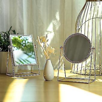 Mirrors makeup mirror light luxury retro european metal gold mirror home desktop square round mirror