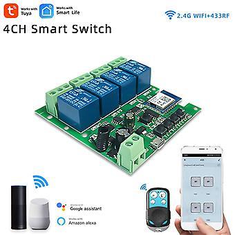 Tuya 4ch Wifi Lichtschalter, dc5v 12v 24v 32v, 4 Kanal Inching Relais, rf433 Empfänger, Smart Home Automation Modul für Alexa Google