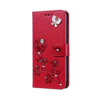 محفظة حقيبة جلدية لسامسونج غالاكسي S21 فائقة الحمراء