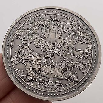 Doble cara Dragon King Nickel Silver Medalla conmemorativa Craft Embossed Tamron Coin Moneda conmemorativa