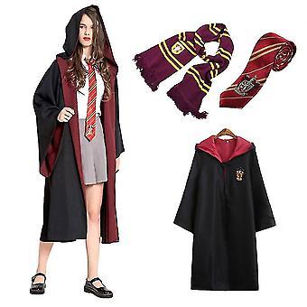 Felnőtt férfi női varázsló Harry Potter díszes ruha köpeny jelmez Cosplay 3 db-os készlet