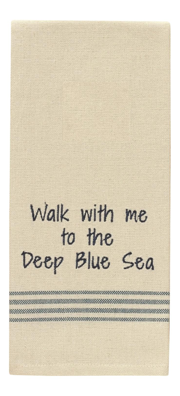Walk With Me To The Deep Blue Sea Embroidered Kitchen Dish Towel 28 Inch