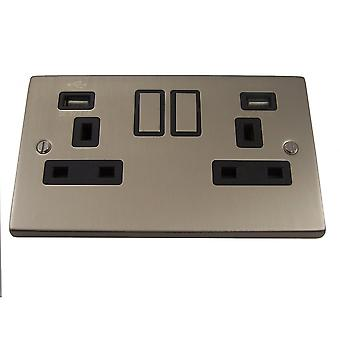 Causeway 2 Gang 13A DP Ingot Switched Socket + USB, Satin Chrome