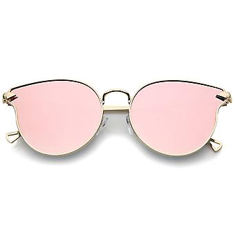 Vrouw metaal Frame pijl tempels gekleurde spiegel vlakke Lens Cat Eye zonnebril 58mm