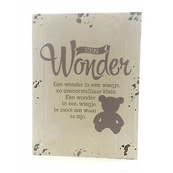 """Houten tekstbordje """"Een wonder"""""""