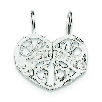 925 sterling sølv satin to stykke gnistre-cut mor datter 2-stykke Break Apart Charm