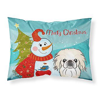 Snowman with Pekingese Fabric Standard Pillowcase