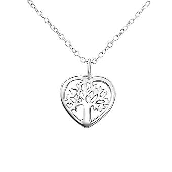 Tree in Heart - 925 Sterling Silver Plain Necklaces - W23025X