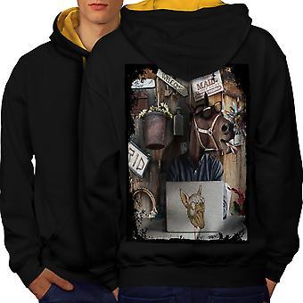 Geek Horse PC Men Black (Gold Hood)Contrast Hoodie Back | Wellcoda