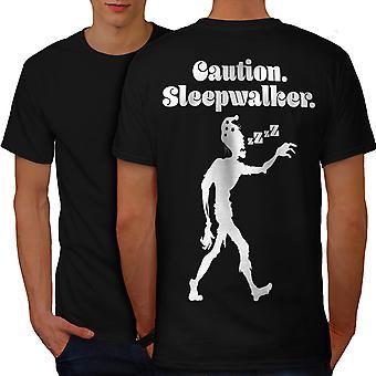 Sleepwalk Funy Zombie Men BlackT-shirt Back | Wellcoda