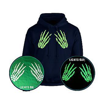Skelett händer främre oförskämd Halloween GLOW IN THE DARK Unisex Hoodie 10 färger (S-5XL) av swagwear
