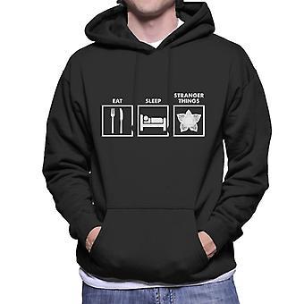 Äta sova Konstigare saker grafik mäns Hooded Sweatshirt