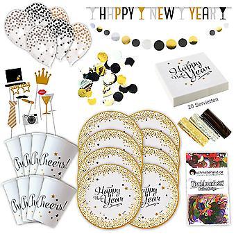 מסיבת ערב השנה החדשה שמח ראש השנה החדשה להגדיר XL 59-piece 8 אורחים עיטור השנה החדשה חבילת המפלגה