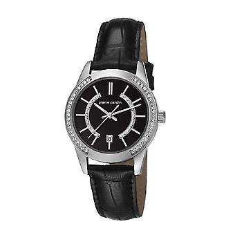 Pierre Cardin Senhoras relógio relógio de pulso TROCA LADY preto LEDER PC106582F02