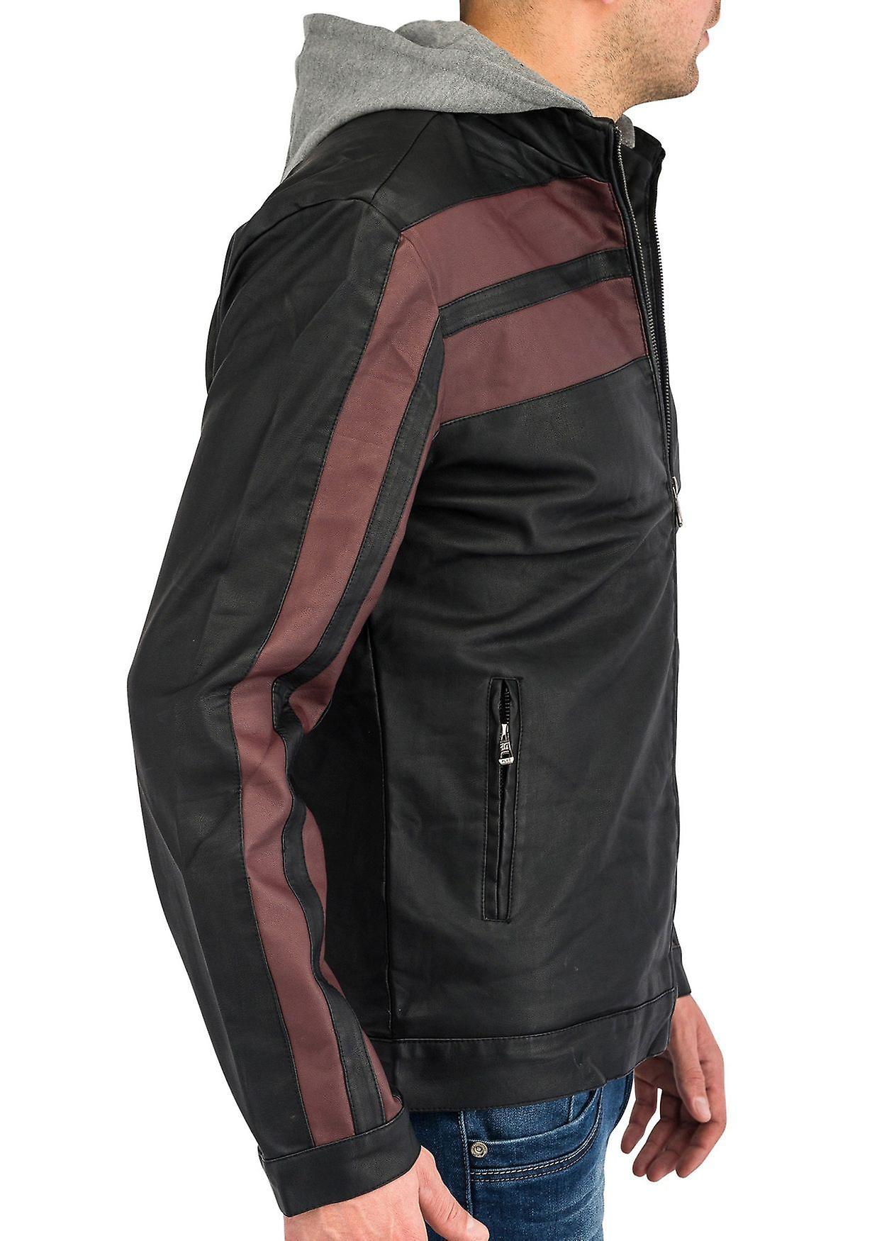 Para hombre cuero chaqueta imitación cuero con capucha Biker chaqueta Racer bicolor otoño
