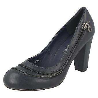 Ladies Spot On Heeled Court Shoe