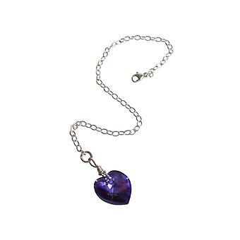 Hjerte armbånd JESY Blau violet lilla 925 sølv med krystal element hjerte