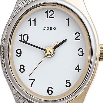 JOBO ladies wrist watch quartz analog stainless steel bicolor gold plated ladies watch oval