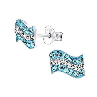 Argentinië vlag - 925 Sterling Zilver Crystal Ear Studs - W28369x
