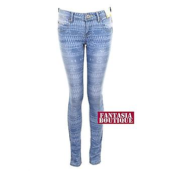 Nouvelles dames Slim Jeans Fit Crinkle Skinny effet Denim imprimé aztèque femmes